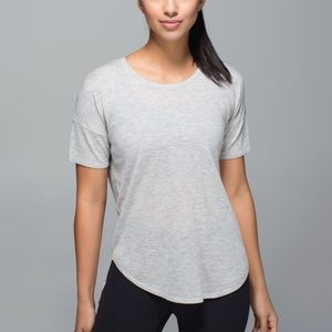 Lululemon Daya Knit Tee Shirt Grey Cashmere Blend